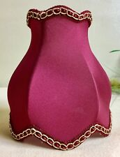 Rare Victorian Style Tulip  Bell Clip On Shade Red Silk Fabric Gold Chain Italy