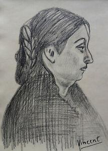 Fine post impressionist drawing, woman, signed Vincent van Gogh w COA