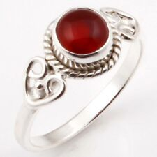 FINE EDH Natural CARNELIAN Gem Ring Choose Size 925 Solid Sterling Silver C-2999