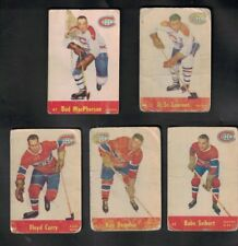1955-56 PARKHURST HOCKEY CARD LOT X 5 CARDS ..ALL MONTREAL CANADIENS
