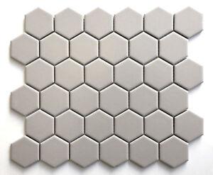 "Soft Beige Taupe 2"" Hexagon Porcelain Mosaic Floor Wall Backsplash Bath Kitchen"