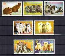 Chats Guinée équatoriale (18) série complète de 7 timbres oblitérés