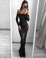 Red Carpet Classy Sparkling Gown Sequin long occasion Event Mermaid Black dress