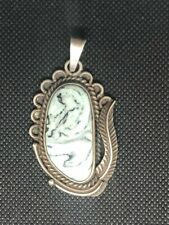 Stamp Turquoise Pendant Circa 1950's Vintage Navajo Sterling Silver 925
