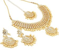 G3 Bollywood Indian Necklace Earrings Tikka Jewellery Set White Beads Gold Tone