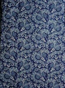 "Cranston Print Works VIP Fabric Paisley Navy Blue 44""w By the Half Yard"