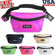 Women Fanny Pack Belt Bag Shiny Leather Pouch Waist Hip Purse Pouch Travel Bag