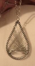 Handsome Latticed Wire-Wound Openwork Teardrop Silvertone Pendant Necklace