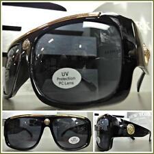 Mens HIP HOP RAPPER GANGSTER SHIELD Style SUN GLASSES Black Gold Frame Dark Lens