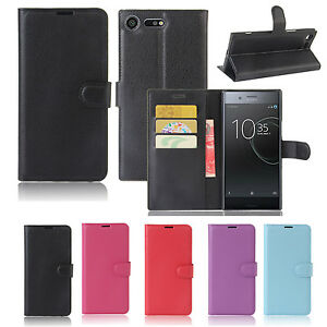 Premium Leather Wallet Case TPU Cover Sony Xperia XZ Premium + Screen Protector