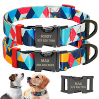 Custom Personalised Colorful Dog Collars ID Name Tag Metal Buckle Engraved S M L