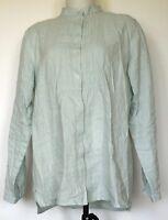 L.L. Bean Light Green Pintuck Button-Front L/S Banded Collar Linen Tunic Shirt M
