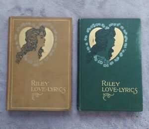 1899 and 1905 Book Lot Riley Love Lyrics Poetry by James Whitcomb Riley Antique