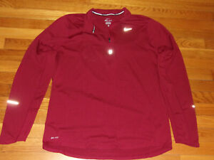 NIKE DRI-FIT 1/2 ZIP LONG SLEEVE BURGUNDY RUNNING PULLOVER MENS LARGE EXCELLENT