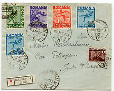 Romania 1937 rare Registered cover,attractive franking,Balkan Games stamps