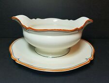 Woods Ivory Ware Burslem England Gravy Boat On Attached Plate