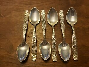 Lot of 6 TOWLE Floral No. 15(1899) Sterling Silver Demitasse Spoons - Mono'd F
