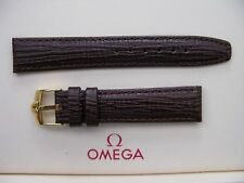 Brand New 18mm Brown Leather Strap & Vintage 16mm Omega Gold Plated Buckle