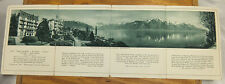 1925 Folder for HOTEL LORIUS, in MONTREUX, SWITZERLAND // Great 18 inch Panorama