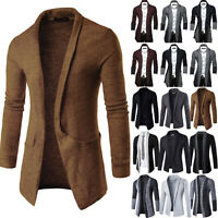 Men Casual Sweater Slim Fit Long Sleeve Knitted Cardigan Solid Coat Jacket Suit