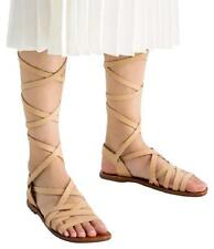ZARA shop Tan Gladiator Strappy Lace Up top Leather Brown Sandals flats 38 7.5