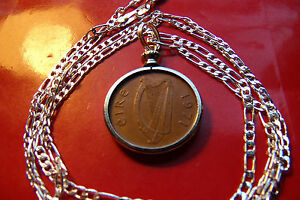 """1971 IRELAND GAELIC NICE Bronze Penny Pendant on a 26"""" 925 STERLING SILVER CHAIN"""