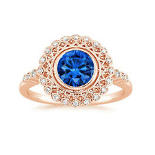 1.55 Ct Round Real Blue Sapphire Diamond Gemstone Ring 14K Solid Rose Gold Rings