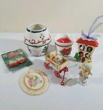 Vintage Random Christmas Lot Of (7) Brand Candles, Ornaments, Earrings (1990's)