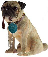 Pug Dog Ornament Sitting Lead Walkies Dog Studies Range by Leonardo