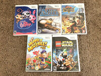 Lot of 5 Wii  Games - Star Wars LPS Blazing Angels Pirates Monkey TESTED WORKING