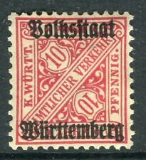 WURTTEMBERG;  1919 Official VOLKSSTAAT Optd. mint hinged 10pf. SP-245377