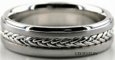 14K WHITE GOLD MENS  BRAIDED HANDMADE WEDDING BANDS RINGS  6MM