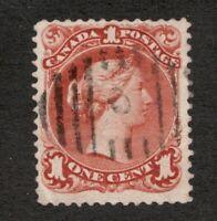 #22  Canada -  1868  -  1 Cent - Used  - F/VF tiny creases - superfleas  cv $140