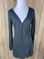 Belle Du Tour Womens Black Button Up Cardigan Tunic Size Large Long Sleeve