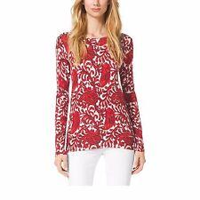 NEW - MICHAEL KORS Women's 'GRENADINE Red Paisley Cotton-Blend SWEATER - Small