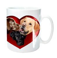 Labrador Dog Mug 3 Labrador Retrievers in a Heart Lab Xmas Gift Mothers Day Gift