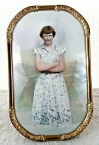 """Antique Large Gold Gild Bubble Glass Convex Frame 15.5"""" x 9.75"""" Standing Girl"""