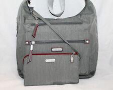 NWT $98 BAGGALLINI Gray Leopard Print Crossbody & Zip Pouch Leather Trim