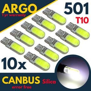 T10 LED Matrícula Luz de 501 W5W Interior Coche Bombillas Super Blanco 10x