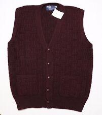 Polo Ralph Lauren Wool Hand Knit Cardigan Sweater Vest Burgundy Red Medium ~ New
