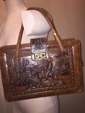 Vintage Hand Tooled Brown Leather Purse Handbag Southwestern Boho Made in Mexico