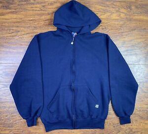vintage russell athletic Full Zip Hoodie Large Blue R1