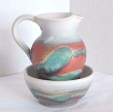 Youghal Art POTTERY Stoneware Jug & Bowl Set Sugar Creamer Pitcher Dish Ireland