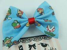 Handmade Hair Bow made from Blue Super Mario Fabric - Gamer Geek Girl Hair Clip