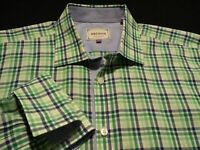 Ted Baker Mens sz 16.5 Long Sleeve Button-Front Multicolor Plaid Check Shirt