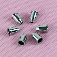 6pcs Silver Through Body Guitar String Chrome Mounting Ferrules Bushing Set