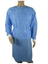 10/pk. Medical Dental Isolation Gown with Knit Cuff Medium Size Gowns Blue
