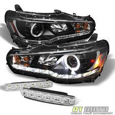 Black 08-17 Lancer Evo-X Halo Projector Headlights DRL Led Strip+Smd Bumper Fog