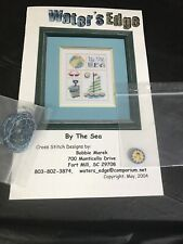 Water's Edge cross stitch By the Sea with one floss and button