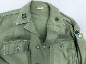 Vietnam War OG-107 Cotton Sateen Fatigue Shirt With Army Security Agency Badge